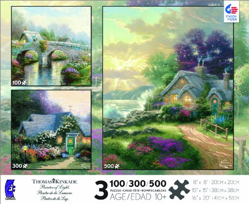 Thomas Kinkade 3 in 1 Multi Pack: Blossom Bridge, Weathervane Hutch, A New Day Dawning Jigsaw Puzzle