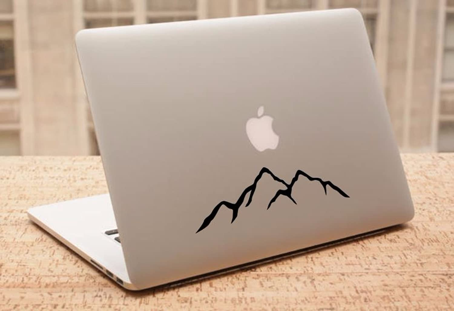 "Maxx Graphixx Decal - Mountains Silhouette - Car Decal, Laptop Decal, MacBook Decal, Ipad Decal (2"" x 6"", Black)"
