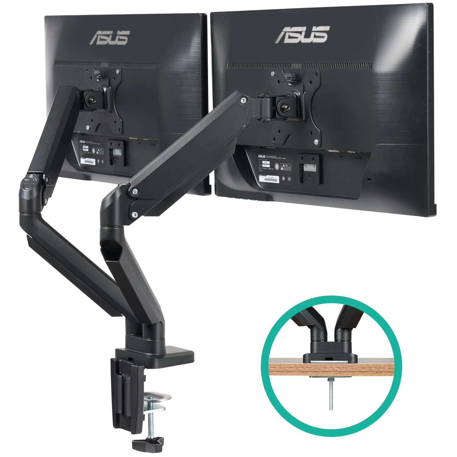 DUAL ARM LCD MONITOR DESK MOUNT BRACKET ARTICULATING UP DOWN IN OUT TILT SWIVEL
