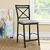 Dorel Living Devon Crossback Counter Height Dining Chair, Black Coffee / Gray Review