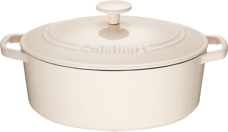 Cuisinart Chef's Classic Enameled Cast Iron 5.5-Quart Oval Covered Casserole, Enameled Cream