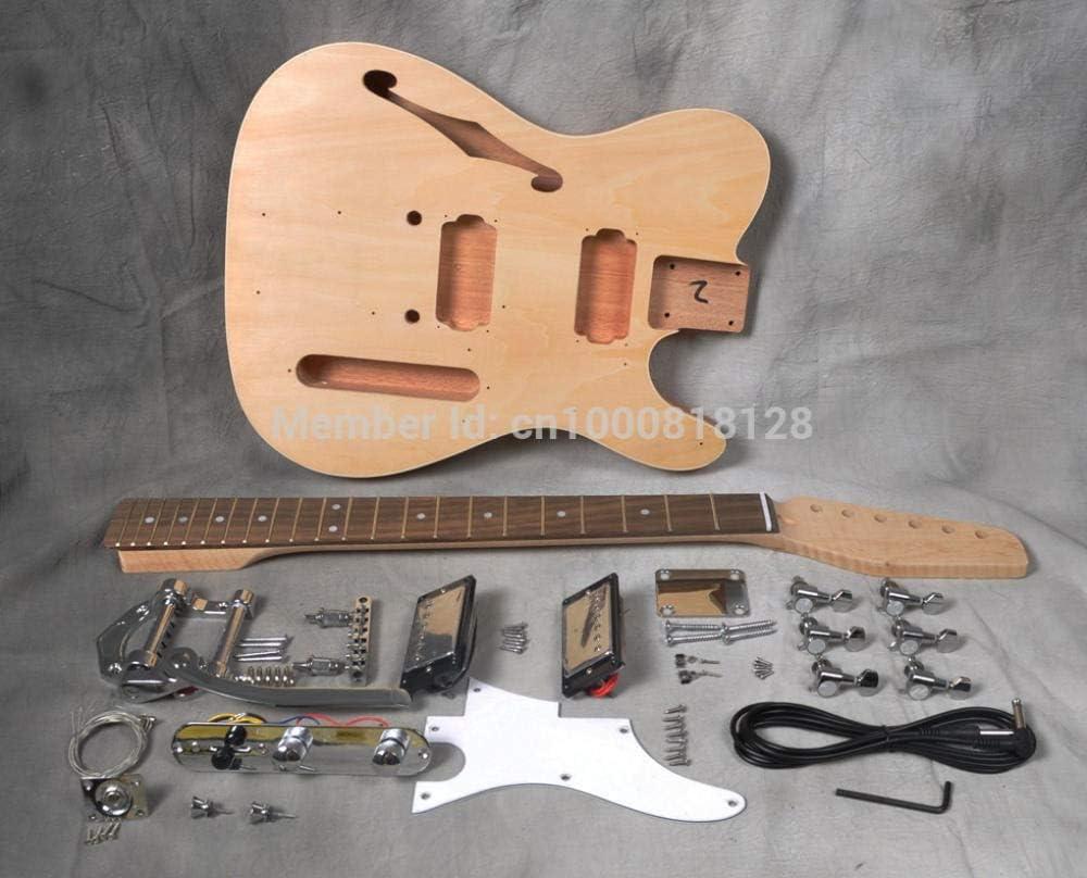 Florwesr Semi Hueco De La Guitarra Eléctrica De Cuerpo DIY Kit Constructor De Proyectos De Caoba Sin Terminar New Single Cutaway (Color : Natural, Size : 39 Inches)