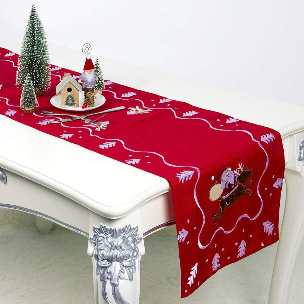 Homeofying Weihnachtsmann Stickerei Tischdecke Esstisch Abdeckung Matte Weihnachtsfeier Dekor Weihnachten Tischl/äufer Tischdecke Blau