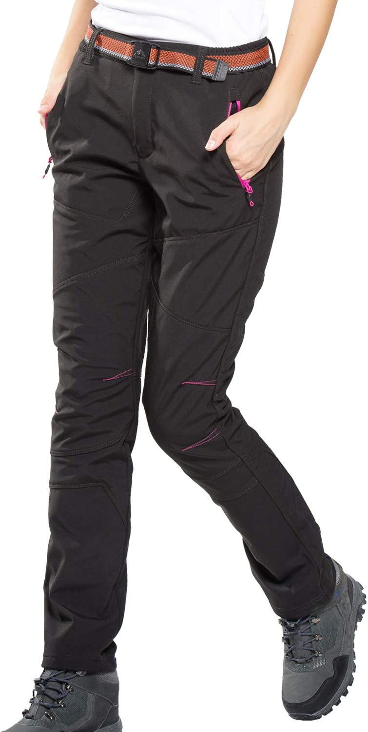 Soft Shell Trousers for Women Warm Fleece Zipped Pockets Sports Pants with Elastic Waist Waterproof Ladies Outdoor Pants Perfect for Hiking Climbing Camping