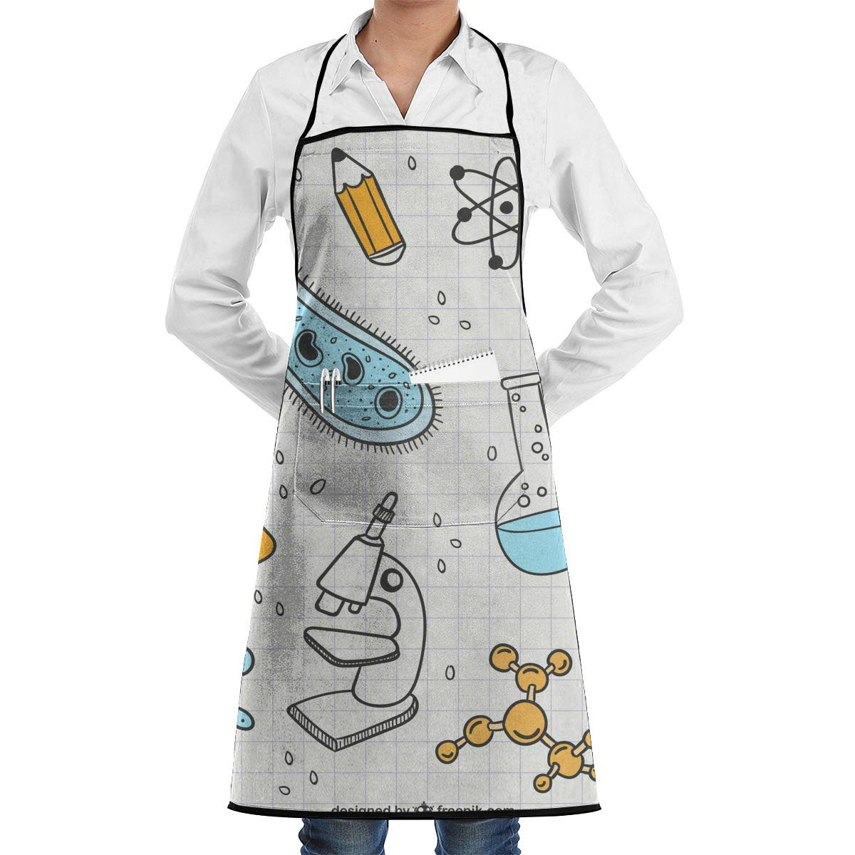 Waterproof Chef Apron with Front Pocket for Kitchen Cooking Craft Baking QIAOJIE Science 3 Bib Apron for Women Men