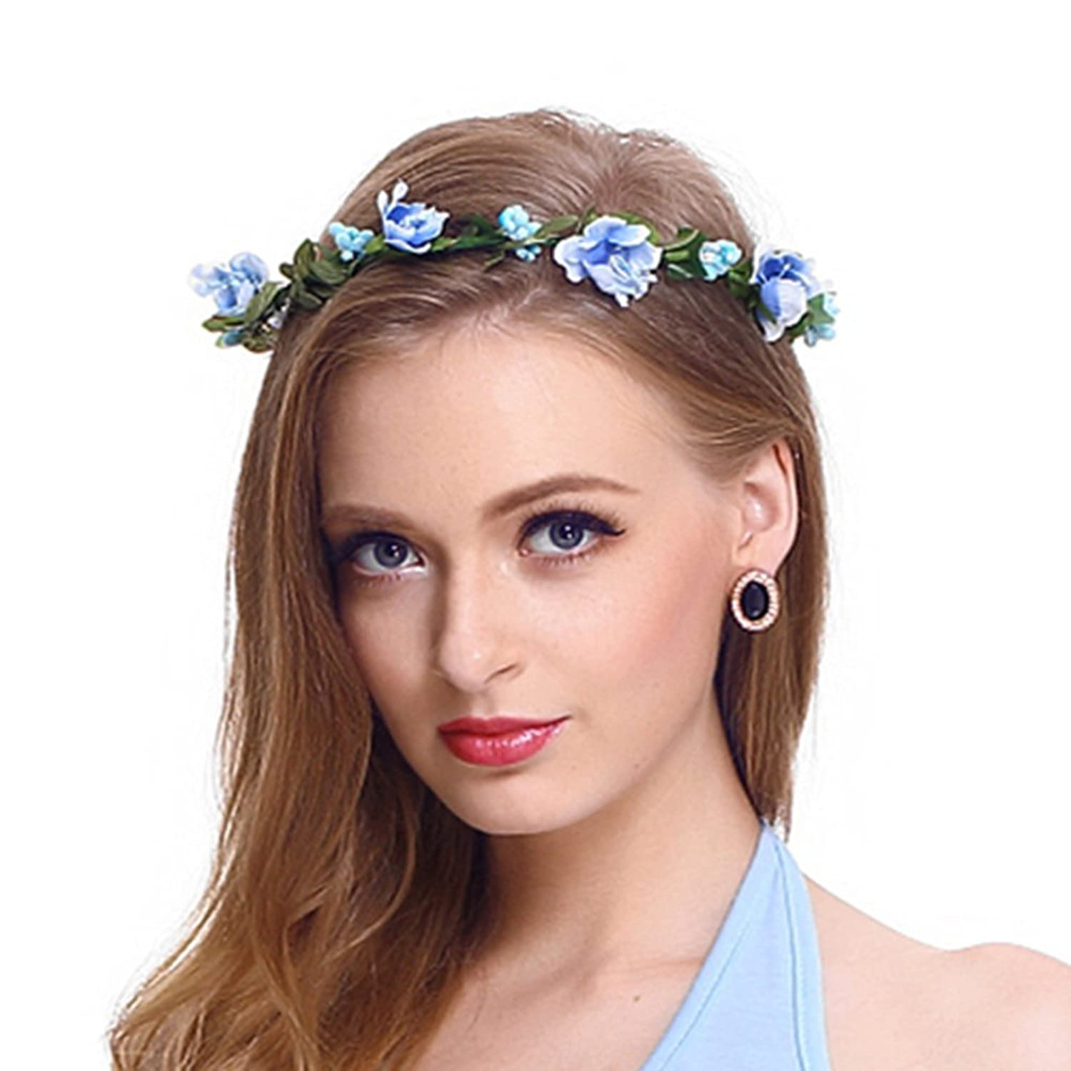 Flower headband garland crown festival wedding hair wreath boho flower headband garland crown festival wedding hair wreath boho floral headband blue 01 at amazon womens clothing store izmirmasajfo