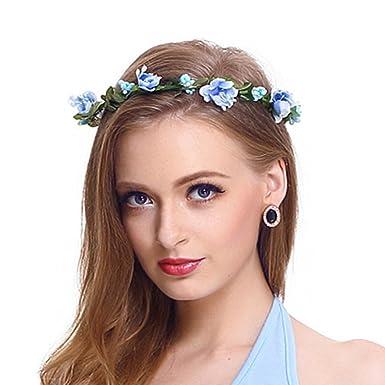 Flower Headband Garland Crown Festival Wedding Hair Wreath BOHO Floral Blue 01
