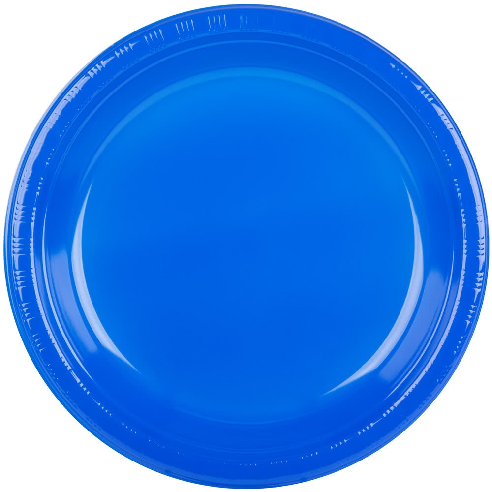 28314731 10 1/4'' Cobalt Blue Plastic Plate - 20/Pack By TableTop King