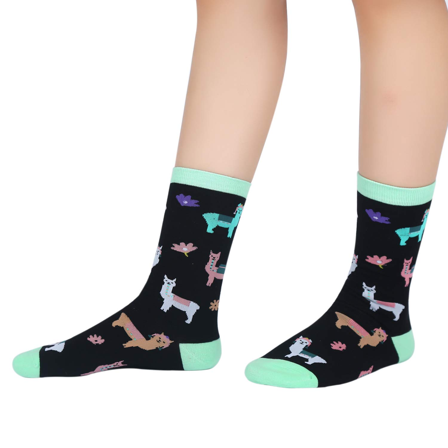 Womens Girls Novelty Llamas Crew Socks Flowers Crazy Funny Casual Animals Socks