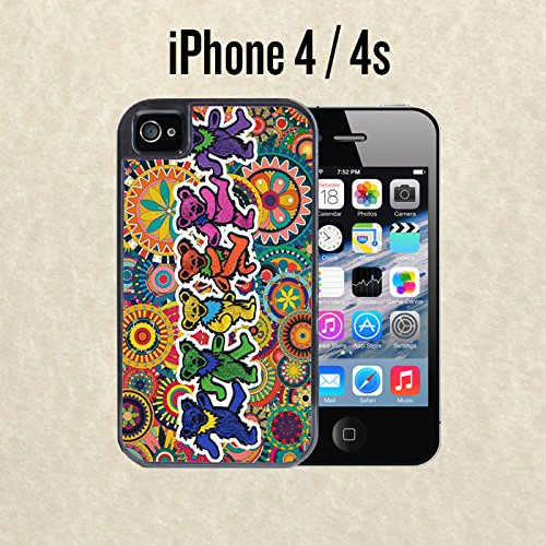 iPhone Case Grateful Dead and Dancing Bears for iPhone 4 / 4s Black 2 in 1 Heavy Duty (Ships from CA)