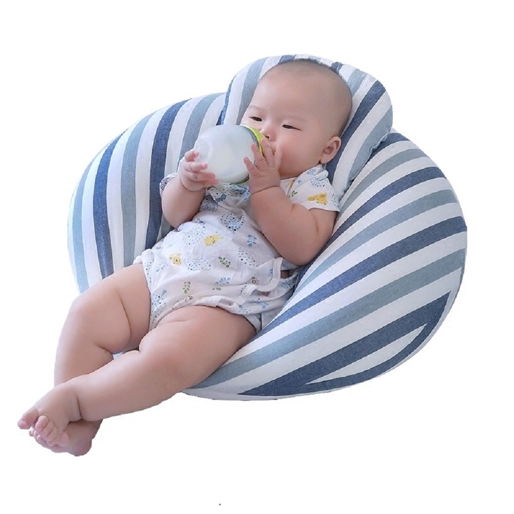 Breast-feeding Pillow The Moon Pillow Infant Learning Pillow Multi-functional Waist Pillow (Blue stripes)