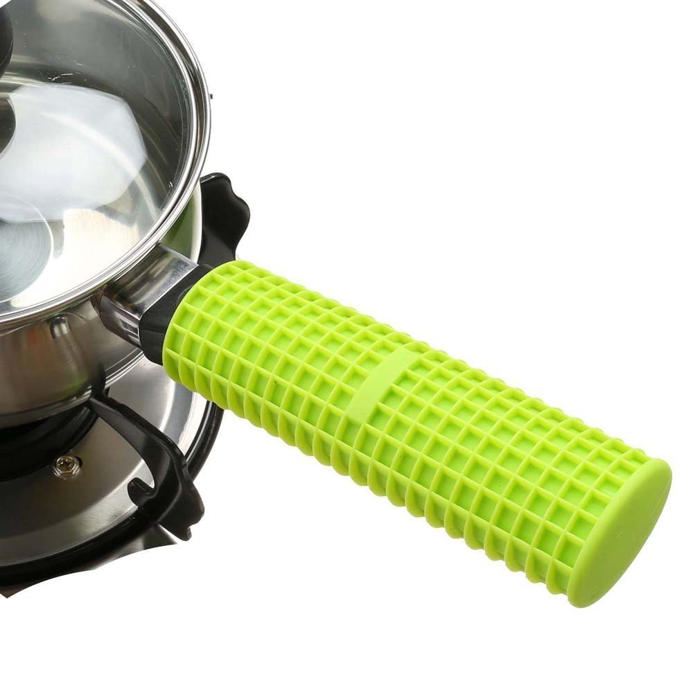 Silicon Handle Holder for Frying pans,Handle Cover,Protection Sleeve,Heating Isolated To 240 Degree,Standard Size,Idea Hot Handle Protection for Hommate Metal Frying Pan,Skillet&Cookware (Green)