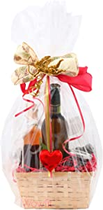 Wowfit Cello Bags,10 CT 16x24 inches Clear Cellophane Bags Perfect for Gift, Presents, Wine Bottles, Bridal/Baby Showers and More (1.2 Mil, Flat, No Gusset, 16x24 inches, NOT Include Ribbon)
