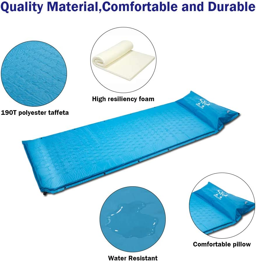 Vech Self Inflating Sleeping Pad Portable Camping Air Mattress Folding Sleeping Mat Lightweight Camping Pad with Pillow Comfortable Foam Camping Mat for Traveling and Hiking