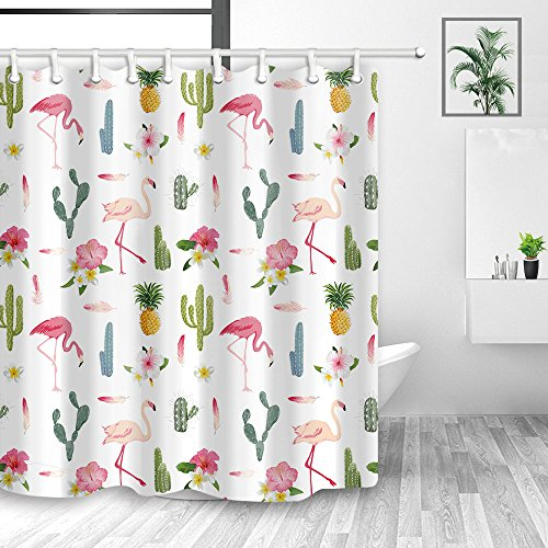 NYMB Tropical Flowers Decorations, Flamingo Bird and Pineapple in Cactus Flower Shower Curtain, Fabric Shower Curtain for The Bathroom, Bath Curtains Hooks Included, 70X70in ()