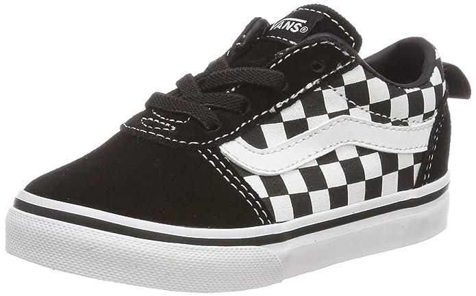 Vans Unisex-Baby Ward Canvas Sneakers Schwarz-Weiß Kariert Größe EU 17,5