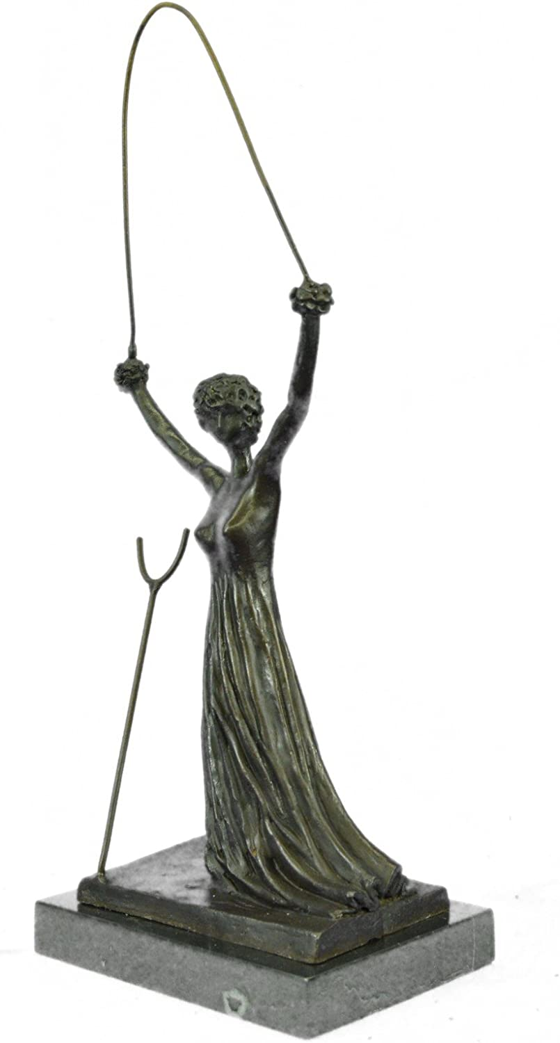 SURREALIST WOMAN LADY WITH ROPE Handmade Bronze Sculpture Statue Figurine Sale