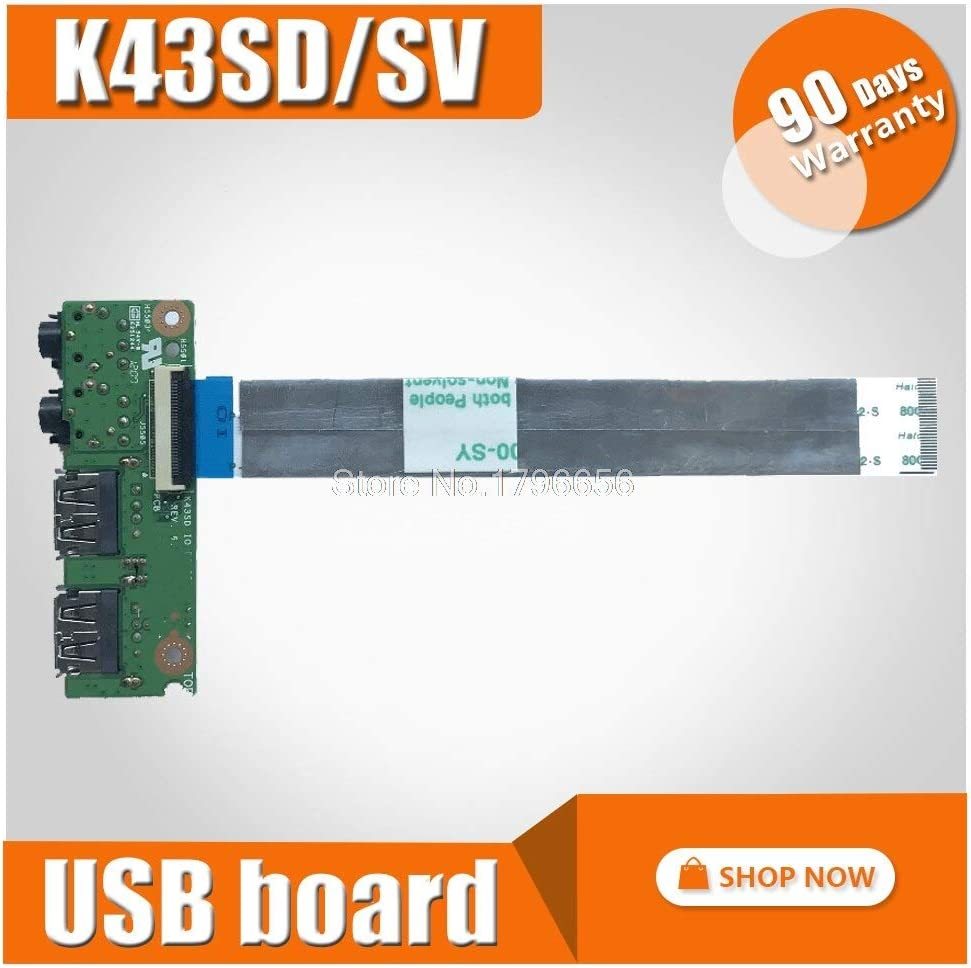 Occus Cable Length: Length, Color: Board Cables Original for ASUS K43 K43SV K43SD A43S X43S K43S K43SJ P43SJ IO USB Audio Jack Board