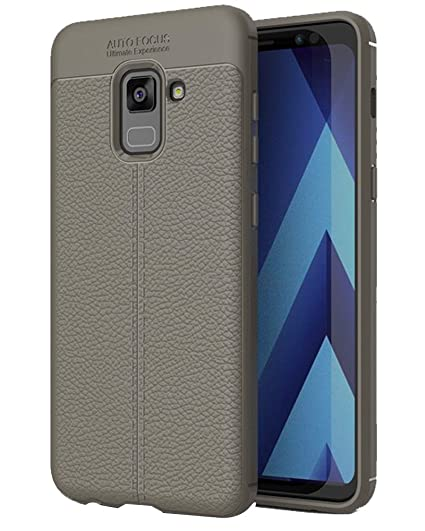 on sale 0e97c f90c1 Golden Sand Compatible with Samsung A8+ Plus Back Cover Premium Leather  Texture Series, Shockproof Armor TPU Case for Samsung Galaxy A8 Plus, Grey
