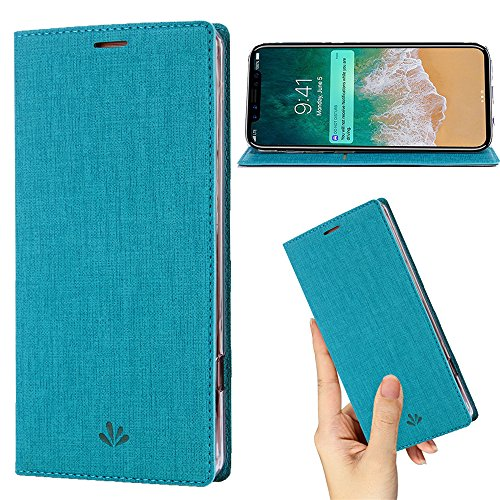 Iphone X Case,PU Leather Wallet Slim Thin Case Flip Folio [Kickstand Feature] with ID&Credit Card Holder Magnetic Closure TPU Bumper Full Cover Case for Apple Iphone X (Blue)