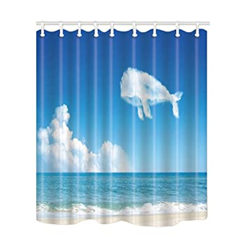 NYMB Creative Decor White Clouds Like Dolphin Shower Curtain Mildew Resistant Polyester Fabric Bathroom