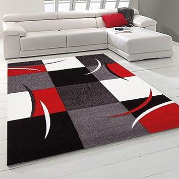 Tapis Chambre VIRGULADA Rouge 80 x 150 cm Tapis de Salon Moderne Design
