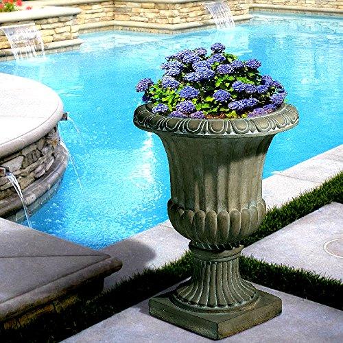 Stone Tall Planter 25'' Aged Green Decor Outdoor Garden Urn Planter / Flowers Pot Decoration - Skroutz Deals by Unknown