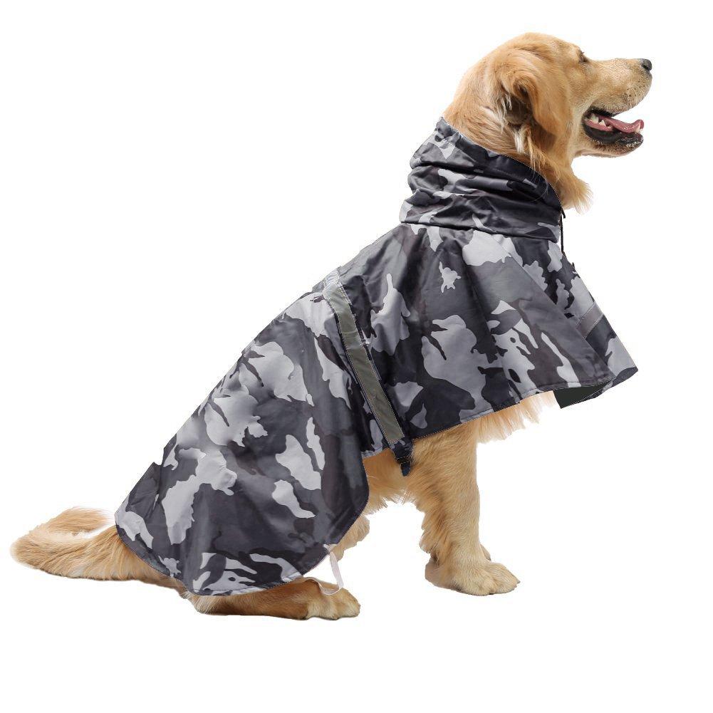 maxgoods Pet Raincoat Leisure Waterproof Clothes Lightweight Camouflage Rain Jacket Poncho with Strip Reflective For Large Medium Dog (Gray XXL)