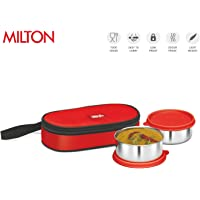 Milton Fresh Bite Softline Stainless Steel Lunch Box, 2-Containers, 11 oz. each, Red