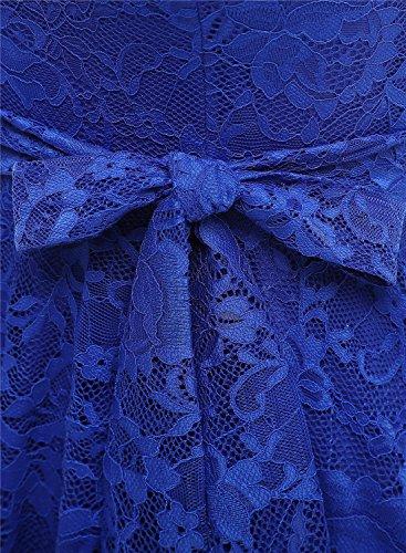 Cocktail Robe Longue en Bleu Pin Vintage Dentelle avec de Femme Royal MuaDress up Ceinture Manches Style Courtes Mi qRwExcd