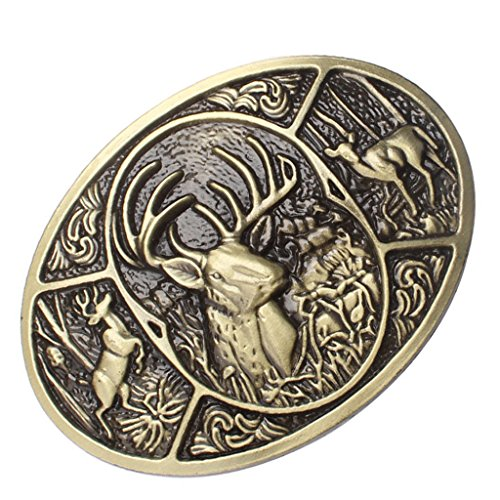 Dovewill Rodeo Animal Deer Shape Belt Buckle Elk Western Vintage Costume Bronze