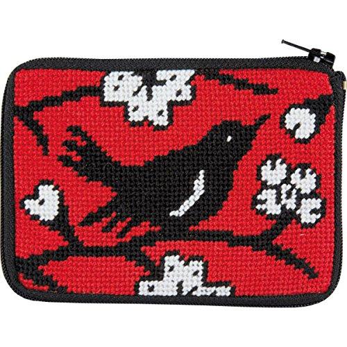 Stitch and Zip Blackbird Needlepoint Coin Purse Kit (Kit Purse Coin Needlepoint)