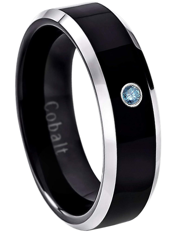 Jewelry Avalanche 6MM Comfort Fit Polished 2-Tone Black Ion Beveled Edge Cobalt Chrome Wedding Band 0.07ct Blue Diamond Cobalt Ring April Birthstone Ring