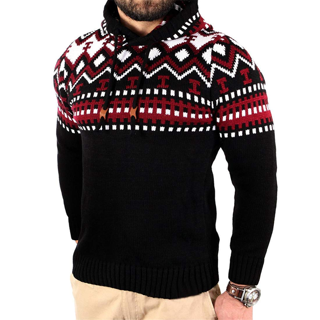 BU2H Men Pattern Pullover Contrast Slim Fit Hooded Stitching Knit Sweater