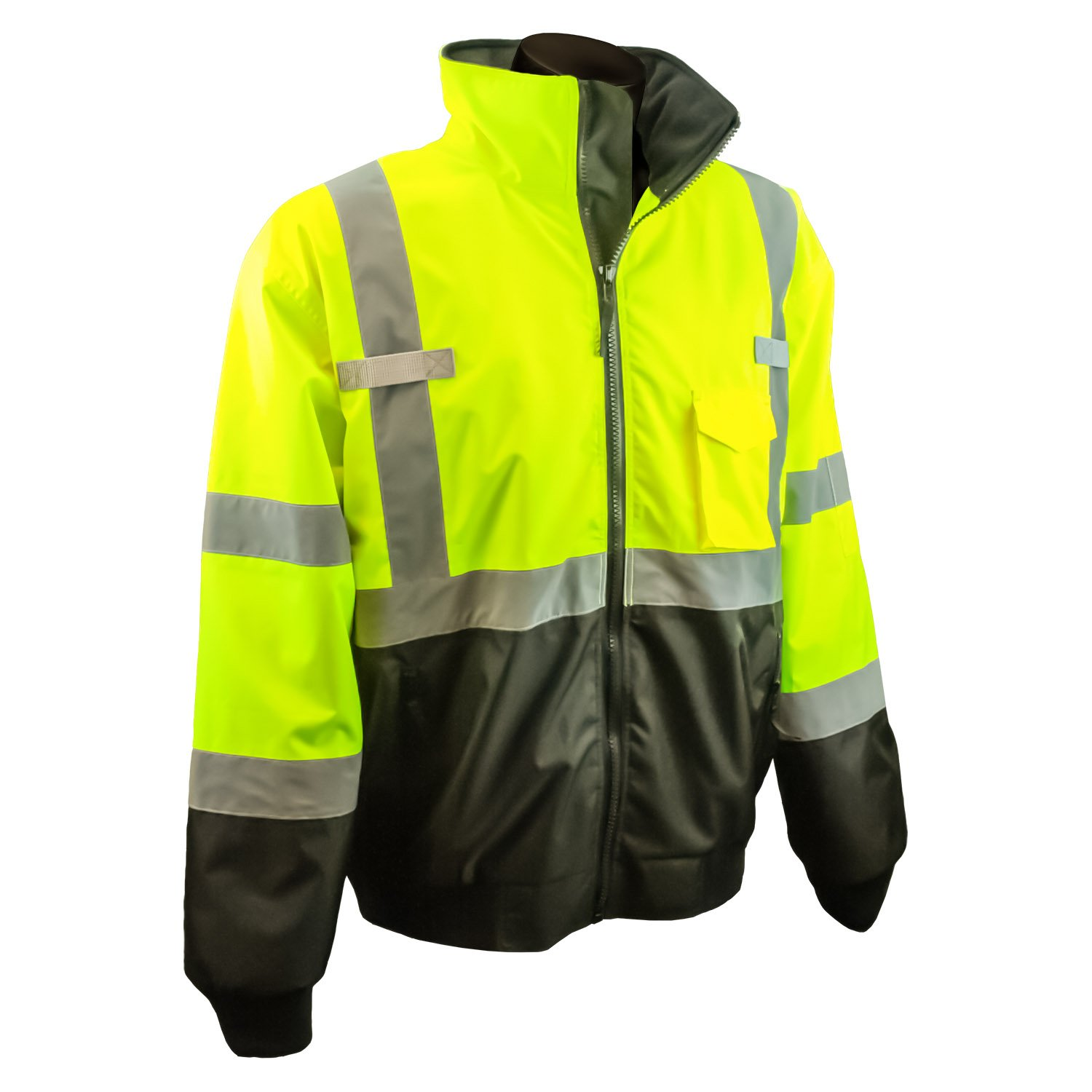 Radians SJ110B-3ZGS-2X Class 3 Two-In-One High Visibility Bomber Safety Jacket, XX-Large, Lime Green