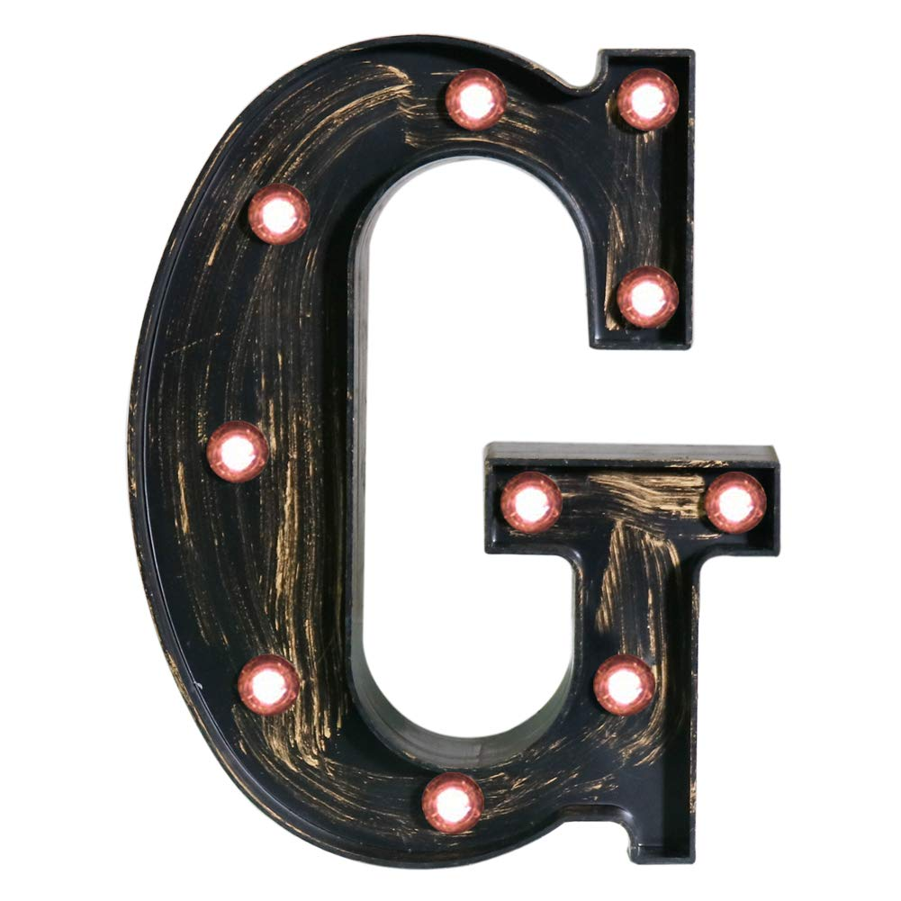 Pooqla Vintage Light Up Marquee Letters with Lights – Illuminated Industrial Style Lighted Alphabet Letter Signs - Coffee Bar Apartment Bedroom Wall Home Initials Decor - G