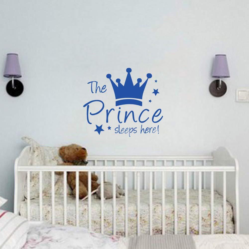 HIFUAR Wall Stickers The Prince Sleeps Here The Crown Custom Girls Boys Room Wall Decal DIY Fashion Art Wall Decoration for Nursery Kids Baby Room Pink Blue