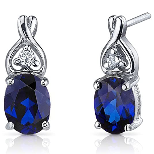 Diwali Gifts Peora Sterling Silver Rhodium Classy Style 3.5 Carats Blue Sapphire Oval Cut ... Earrings at amazon