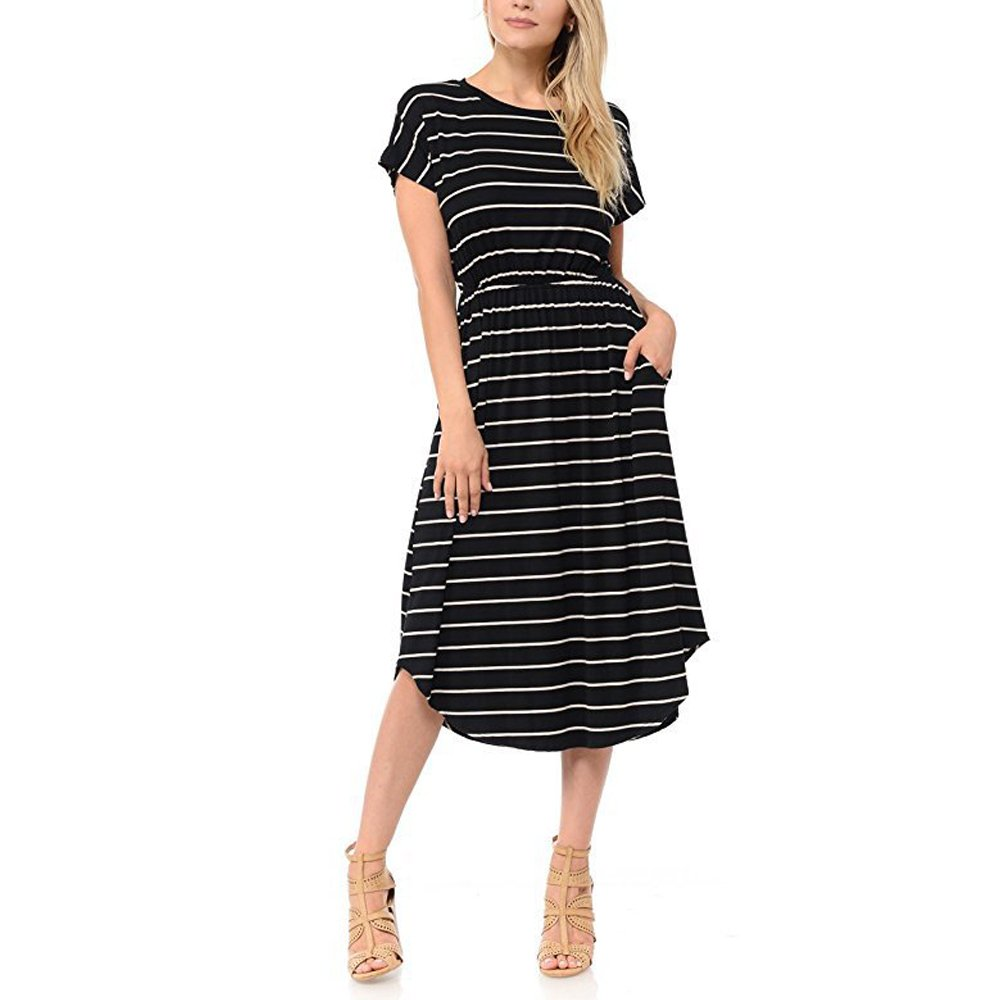 RedLife Women's Elegant Summer Striped Loose Party Cocktail Work Beach Holiday Midi Dress (Large, Black 3)