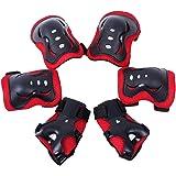 Meta-color negro y blanco 6 piezas de los niños/juego de copas de Protectora de engranaje de-2 de cuchilla para patines de + almohadillas de molestias en el codo + almohadillas de 2 de la muñeca 2 almohadillas de la rodilla de, color rosso, tamaño talla única
