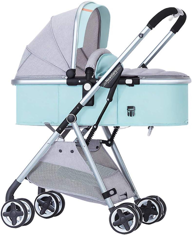折り畳み式ベビーカー、アンチショック付き旅行システム、新生児ベビーカー、調節可能なハイビューキャリッジ幼児乳母車, green