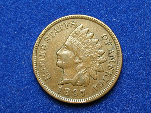 (1897 U.S. Indian Head Cent Full LIBERTY Full Rim 1c Fine to XF )