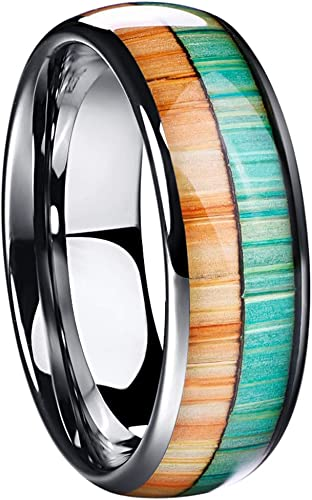 Men/'s Tungsten Steel Turquoise Ring Band Wedding Anniversary 8MM Size 7-12