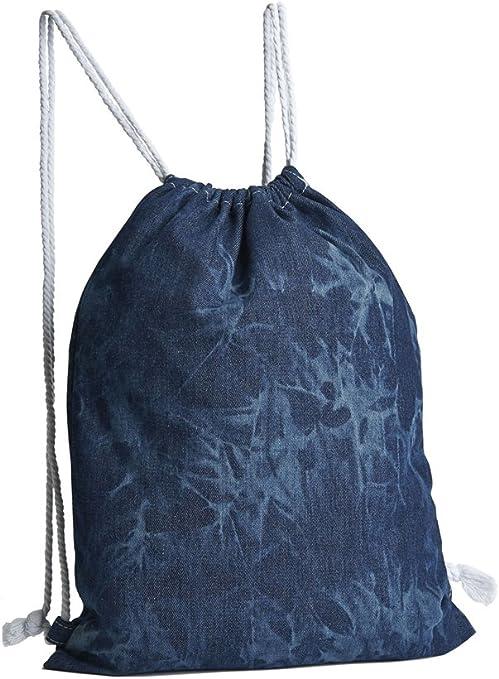3 bolsas de mochila, tela vaquera, óptica de batik, 100% algodón, tamaño 44 x 34 cm, mochila de algodón, bolsa juvenil: Amazon.es: Juguetes y juegos