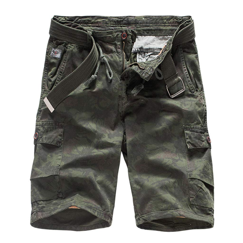 Mens Cotton Relaxed Fit Fit Outdoor Camouflage Camo Cargo Shorts Multi-Pocket Beach Shorts Boardshorts with Belt