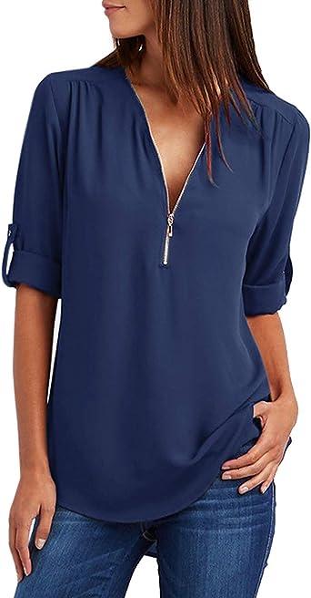 Blusa de gasa para mujer, elegante cremallera, manga larga, camiseta, túnica, cuello en V: Amazon.es: Ropa y accesorios