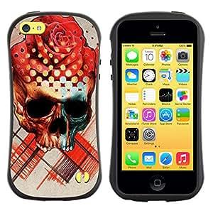 Be-Star Impreso Colorido Diseño Antichoque Caso Del Iface Primera Clase Tpu Carcasa Funda Case Cubierta Par Apple iPhone 5C ( rose skull death ink tattoo red rose )