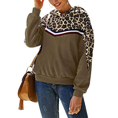 AKEWEI Hoodies for Women Leopard Print Hooded Sweatshirts Sherpa Pullover S-XL at Amazon Women's Clothing store