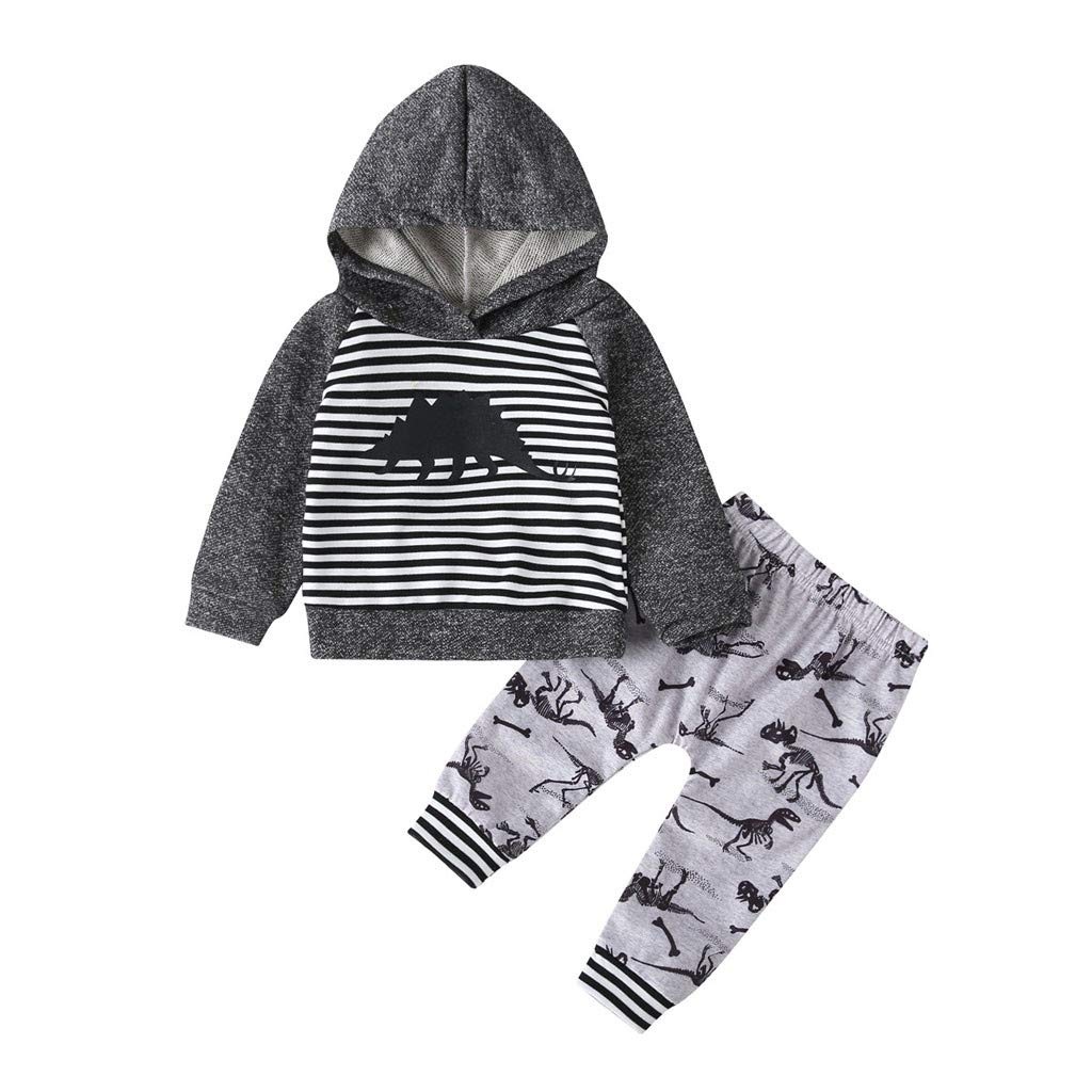 Toddler Kids Hooides Set Baby Boys Girls Clothing Set Cartoon Hooded Striped Sweatshirt Pants Outfits Set