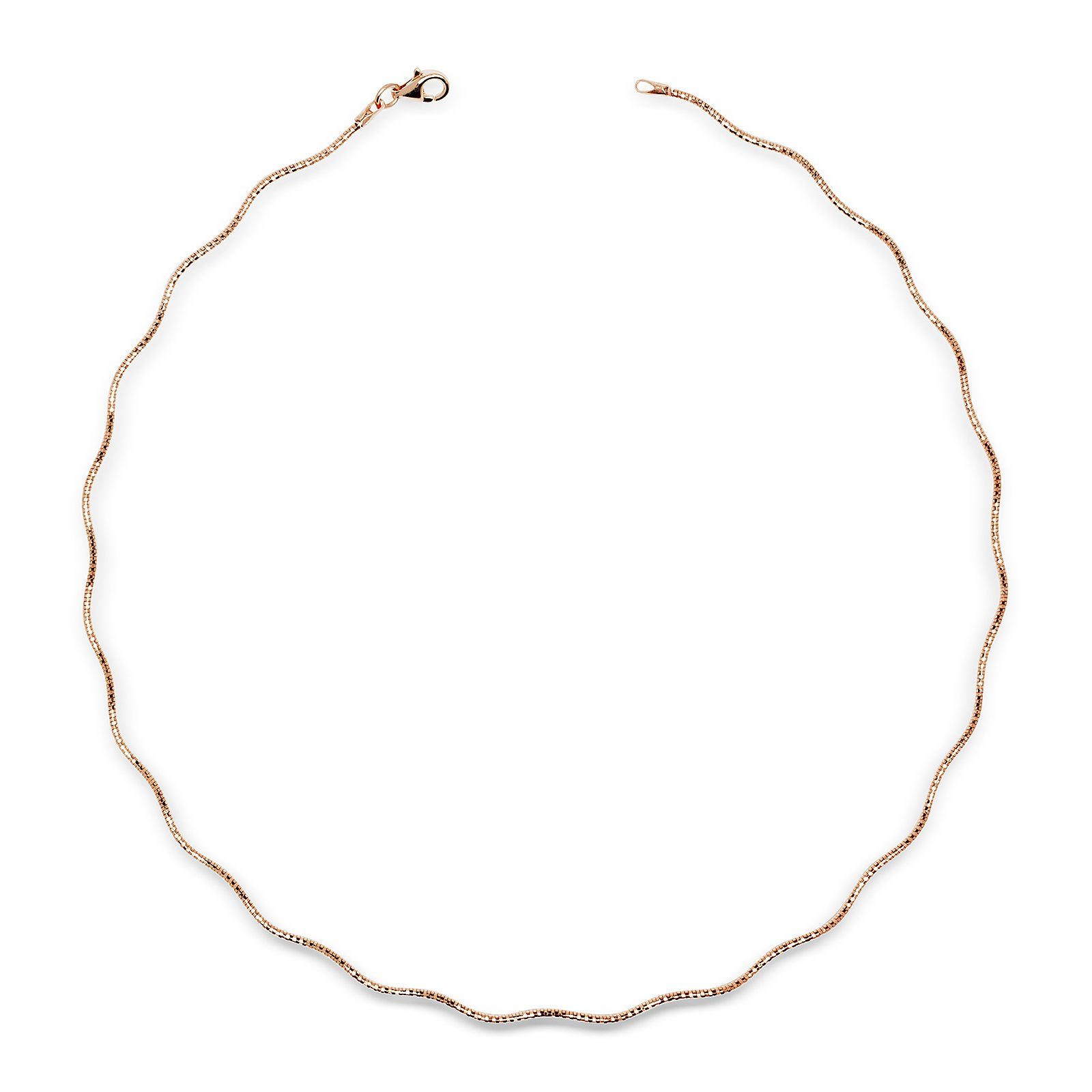 JewelryWeb Italian Sterling Silver 2mm Tailored Wavy Omega Wire Necklace (16-20') (3-colors) (rose-gold-flashed-silver, 18)